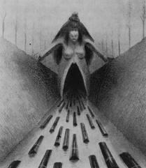 Alfred Kubin, útero, muerte, womb and tomb