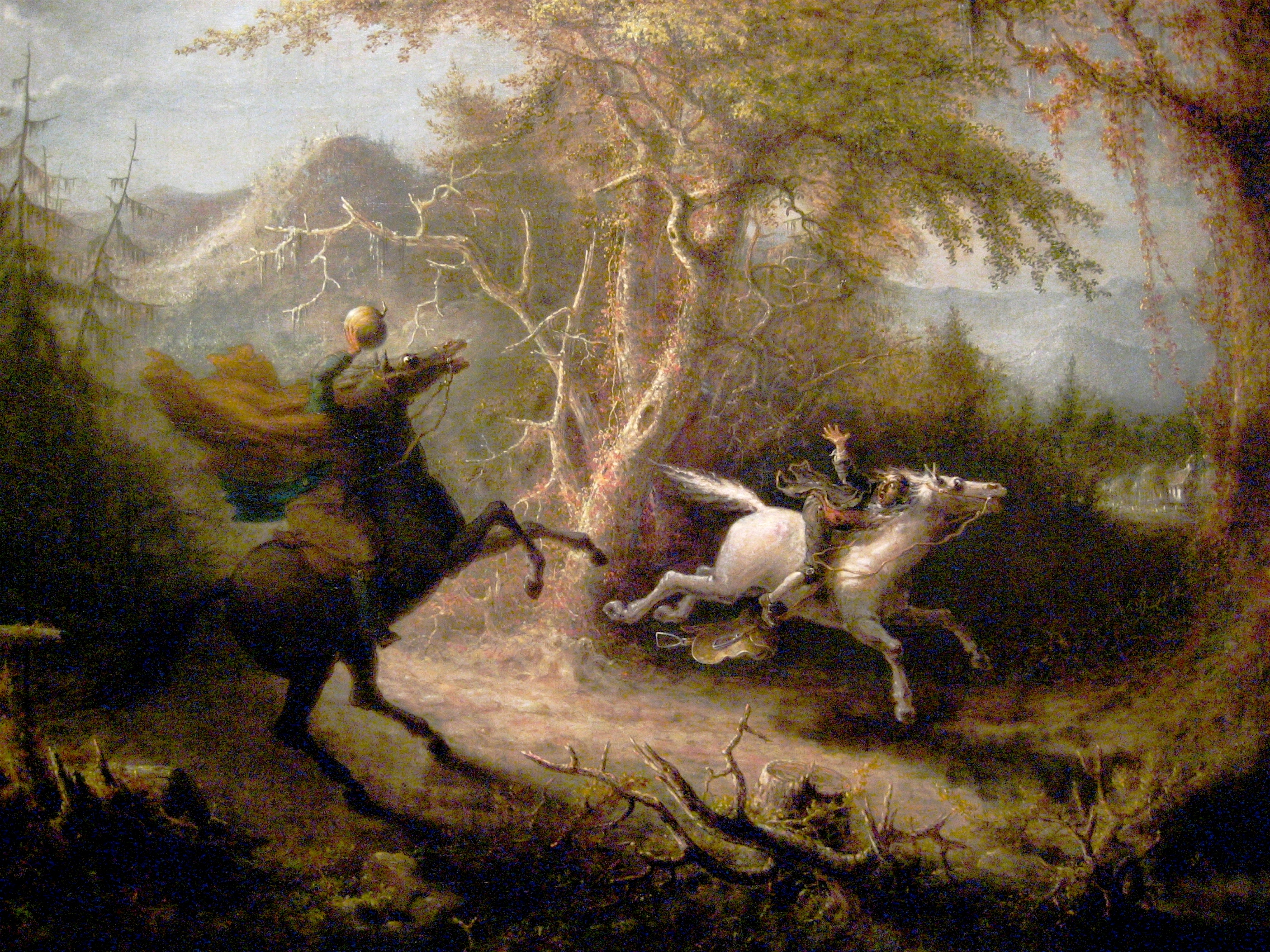 John Quidor, The Headless Horseman Pursuing Ichabod Crane, Washington Irving, jinete sin cabeza